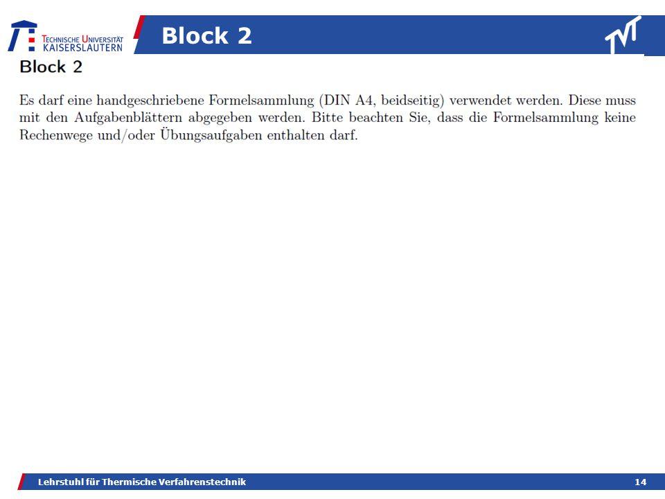 Block 2 Lehrstuhl für Thermische Verfahrenstechnik
