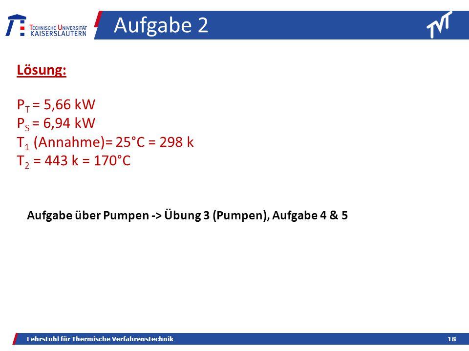 Aufgabe 2 Lösung: PT = 5,66 kW PS = 6,94 kW T1 (Annahme)= 25°C = 298 k