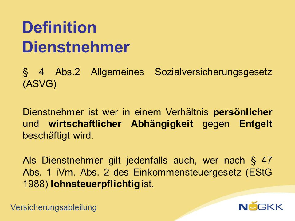 Definition Dienstnehmer