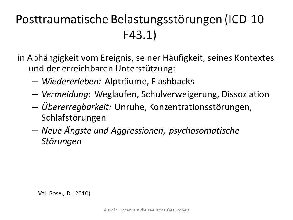 Posttraumatische Belastungsstörungen (ICD-10 F43.1)
