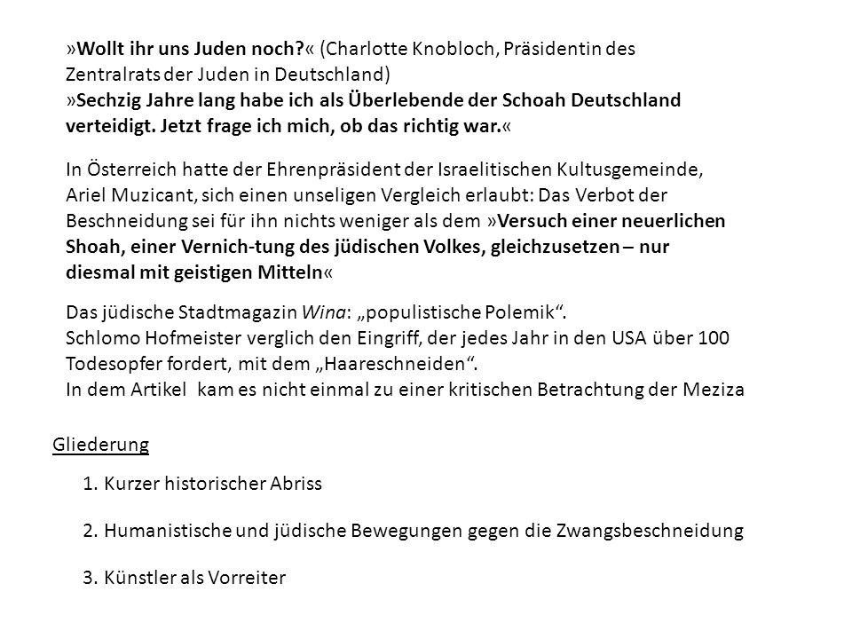»Wollt ihr uns Juden noch « (Charlotte Knobloch, Präsidentin des