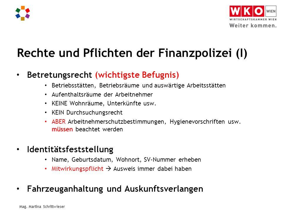 Rechte und Pflichten der Finanzpolizei (I)