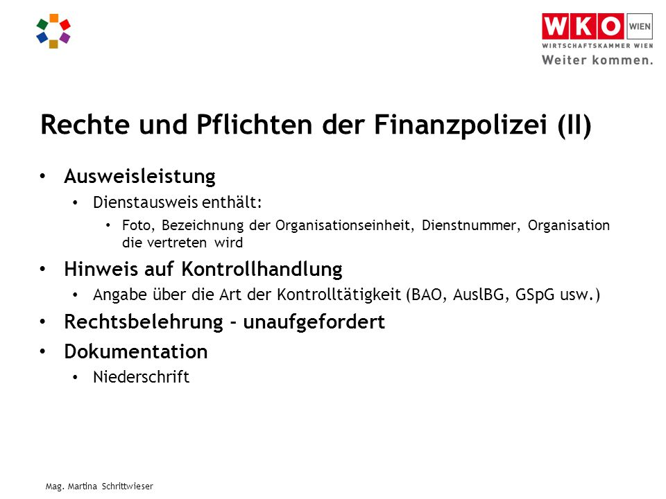Rechte und Pflichten der Finanzpolizei (II)