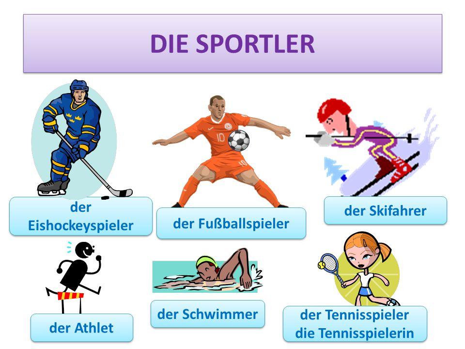 DIE SPORTLER der Eishockeyspieler der Skifahrer der Fußballspieler