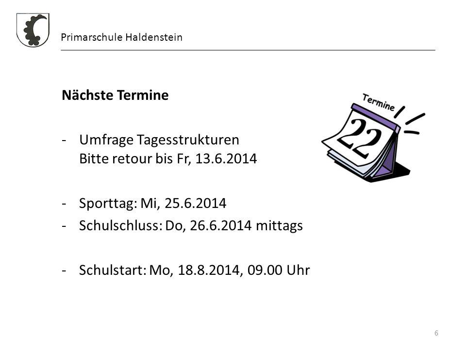 Umfrage Tagesstrukturen Bitte retour bis Fr, 13.6.2014