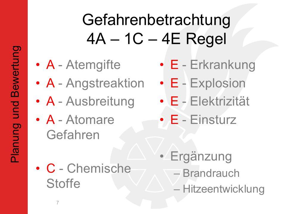 Gefahrenbetrachtung 4A – 1C – 4E Regel