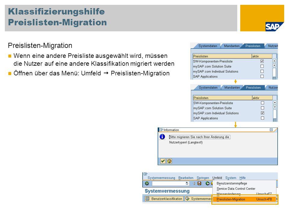 Klassifizierungshilfe Preislisten-Migration