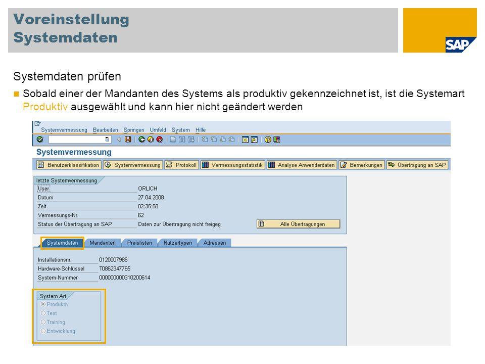 Voreinstellung Systemdaten
