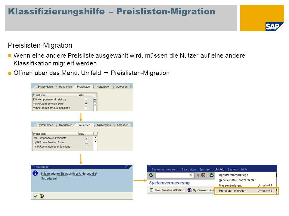 Klassifizierungshilfe – Preislisten-Migration