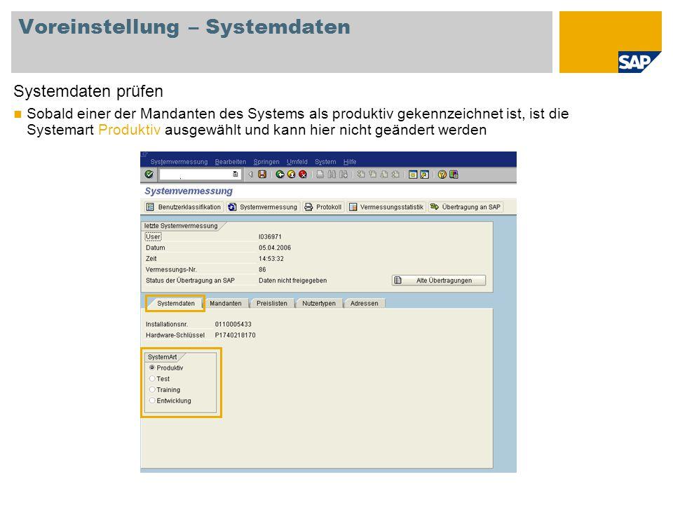 Voreinstellung – Systemdaten