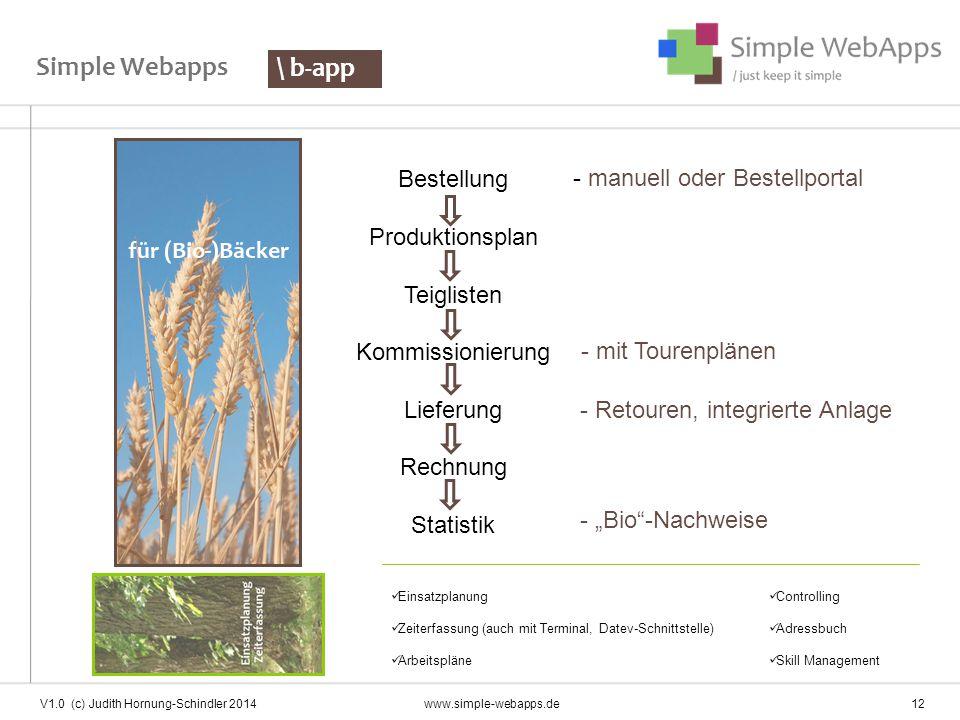 Simple Webapps \ b-app Bestellung Produktionsplan Teiglisten