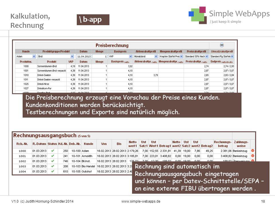 Kalkulation, Rechnung \ b-app