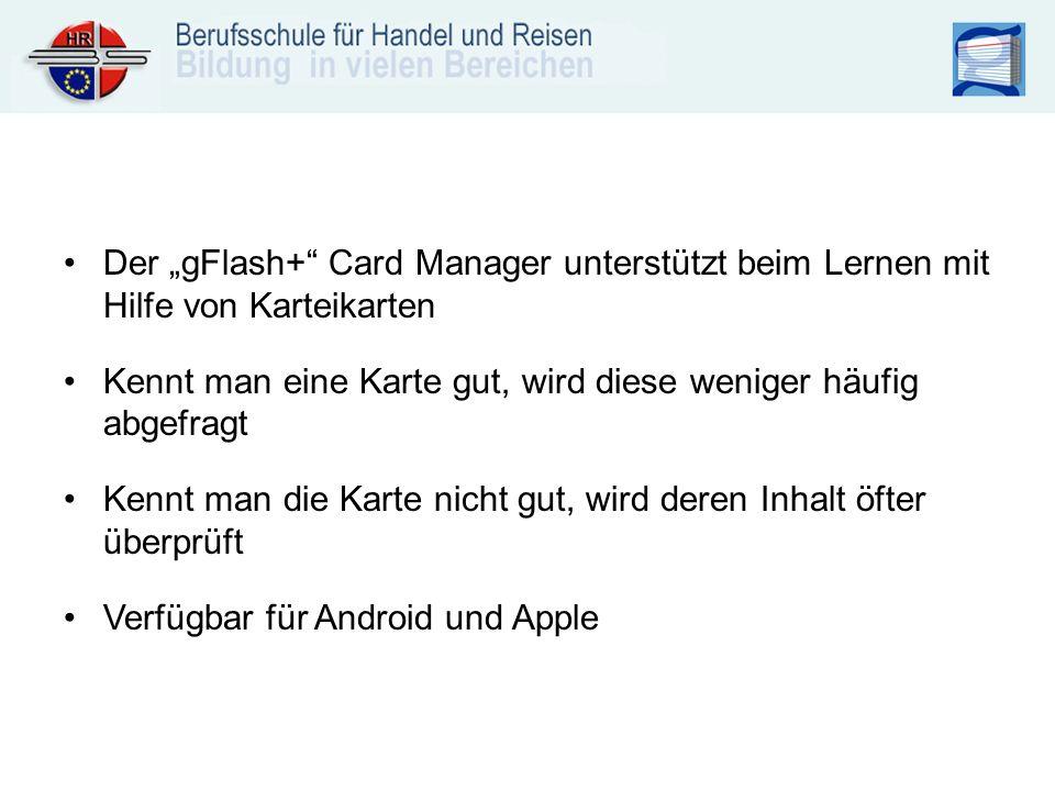 """Der """"gFlash+ Card Manager unterstützt beim Lernen mit Hilfe von Karteikarten"""