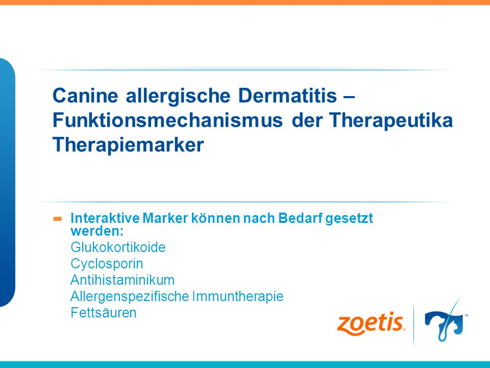 Canine allergische Dermatitis – Funktionsmechanismus der Therapeutika Therapiemarker