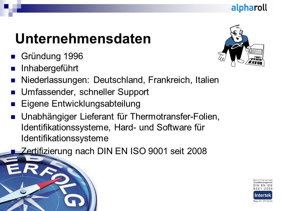 Unternehmensdaten Gründung 1996 Inhabergeführt