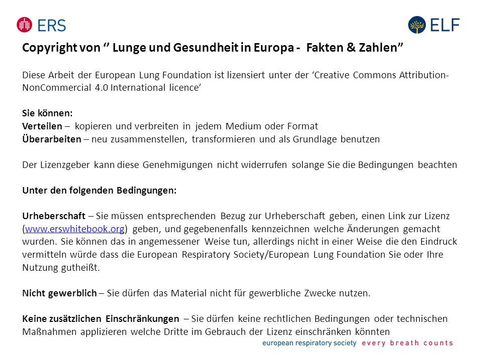Copyright von '' Lunge und Gesundheit in Europa - Fakten & Zahlen