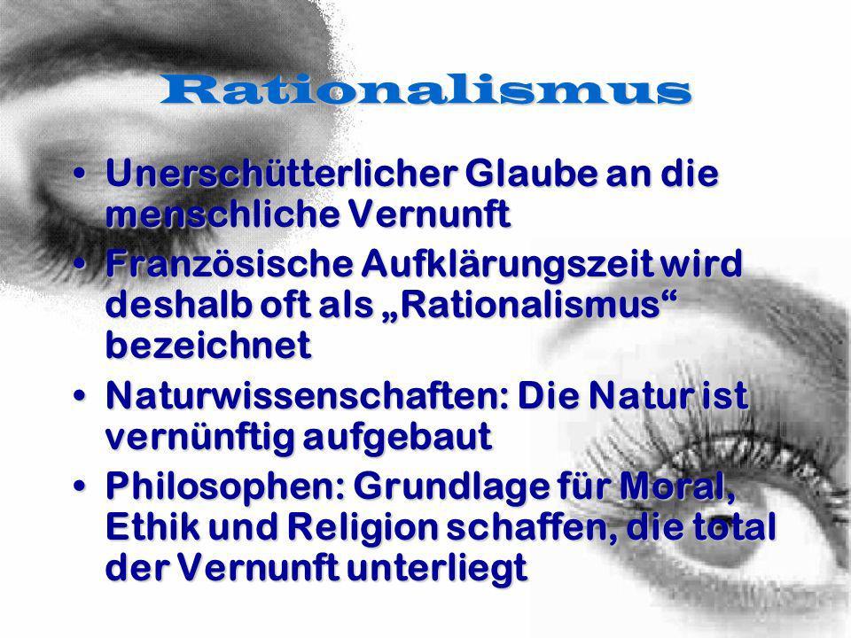 Rationalismus Unerschütterlicher Glaube an die menschliche Vernunft