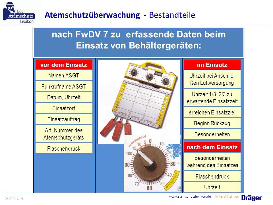 nach FwDV 7 zu erfassende Daten beim Einsatz von Behältergeräten: