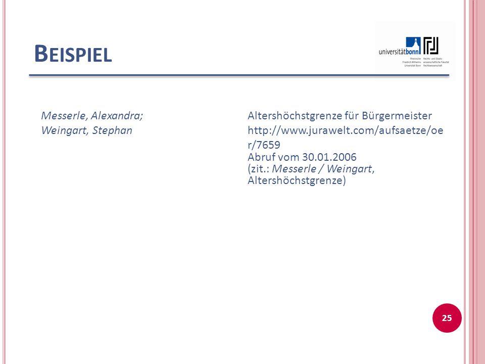 Beispiel Messerle, Alexandra; Weingart, Stephan