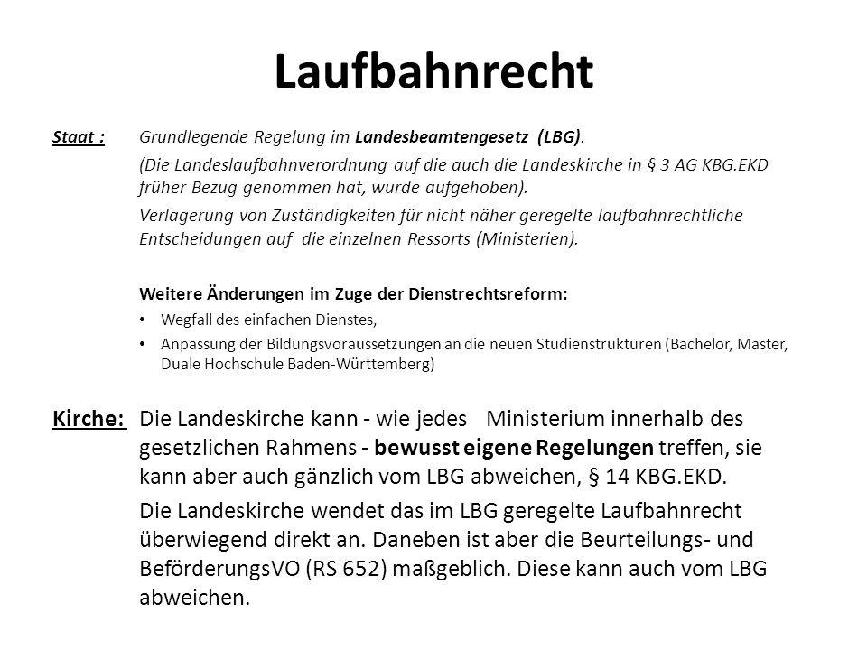 Laufbahnrecht Staat : Grundlegende Regelung im Landesbeamtengesetz (LBG).
