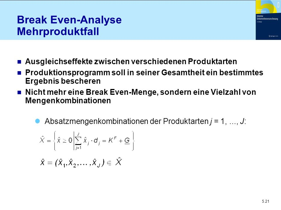 Break Even-Analyse Mehrproduktfall