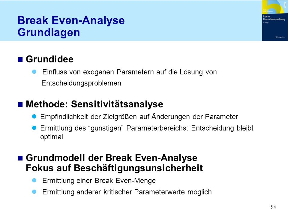 Break Even-Analyse Grundlagen