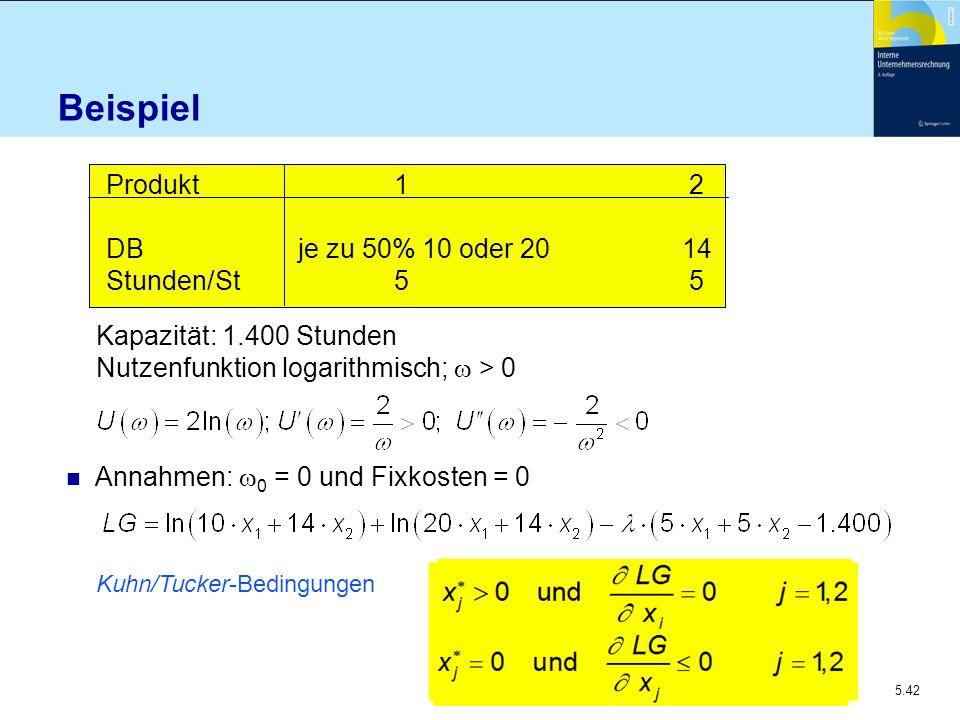 Beispiel Produkt 1 2 DB je zu 50% 10 oder 20 14 Stunden/St 5 5