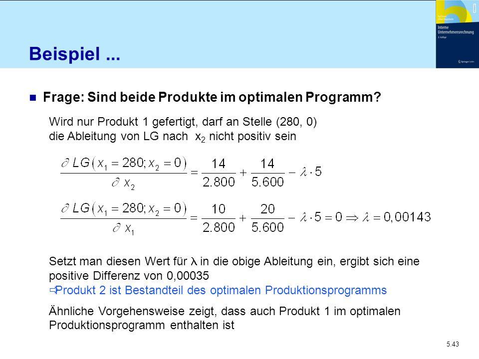 Beispiel ... Frage: Sind beide Produkte im optimalen Programm
