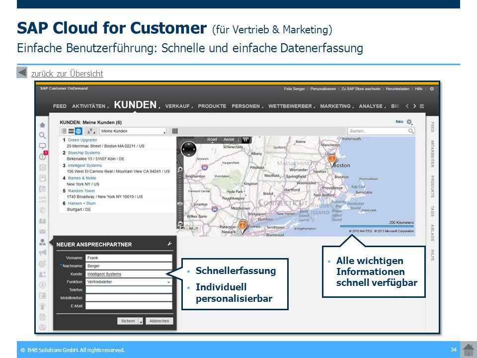 SAP Cloud for Customer (für Vertrieb & Marketing) Einfache Benutzerführung: Schnelle und einfache Datenerfassung