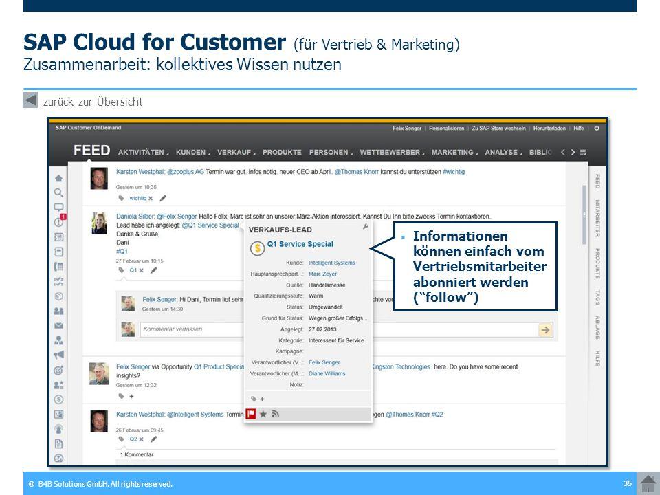 SAP Cloud for Customer (für Vertrieb & Marketing) Zusammenarbeit: kollektives Wissen nutzen