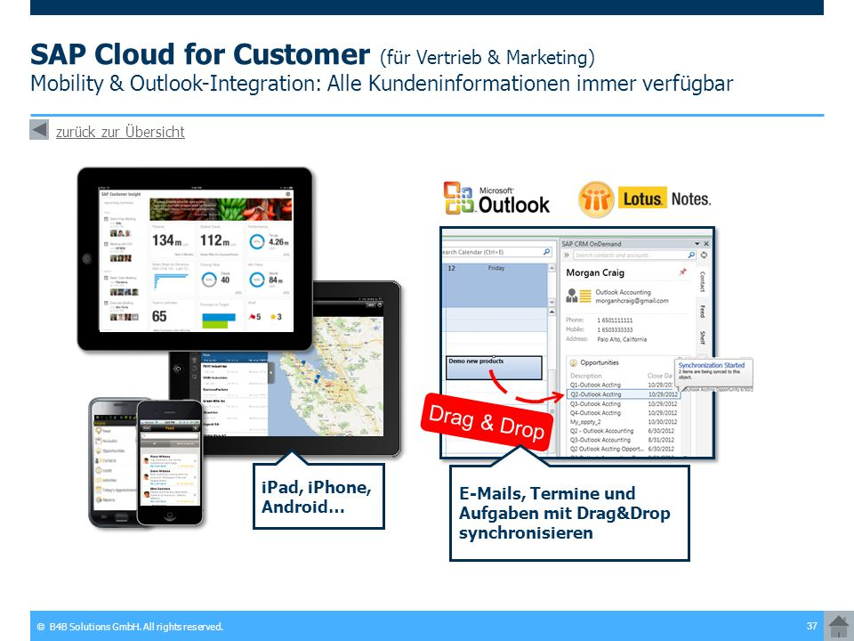 SAP Cloud for Customer (für Vertrieb & Marketing) Mobility & Outlook-Integration: Alle Kundeninformationen immer verfügbar