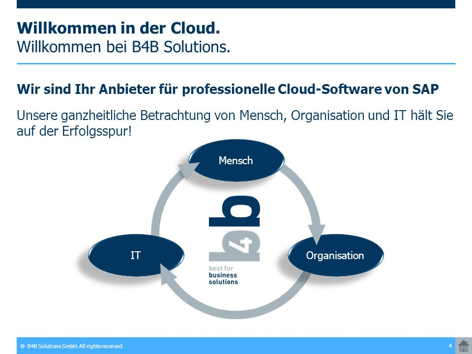 Willkommen in der Cloud. Willkommen bei B4B Solutions.