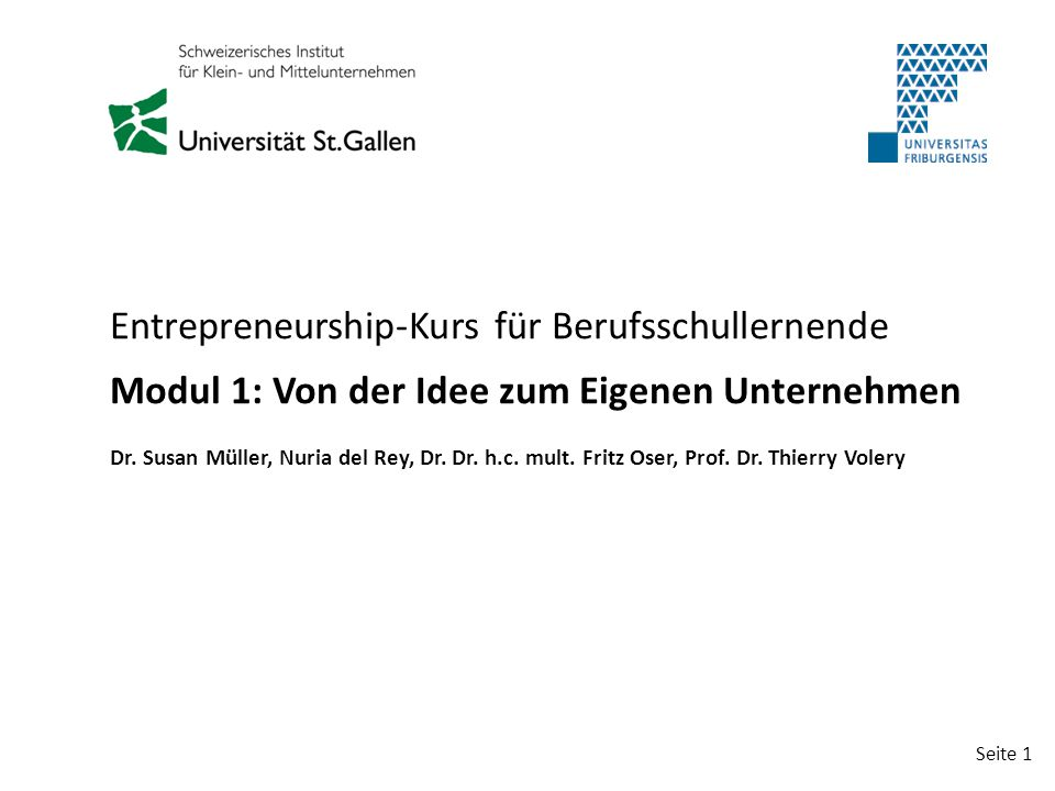 Entrepreneurship-Kurs für Berufsschullernende