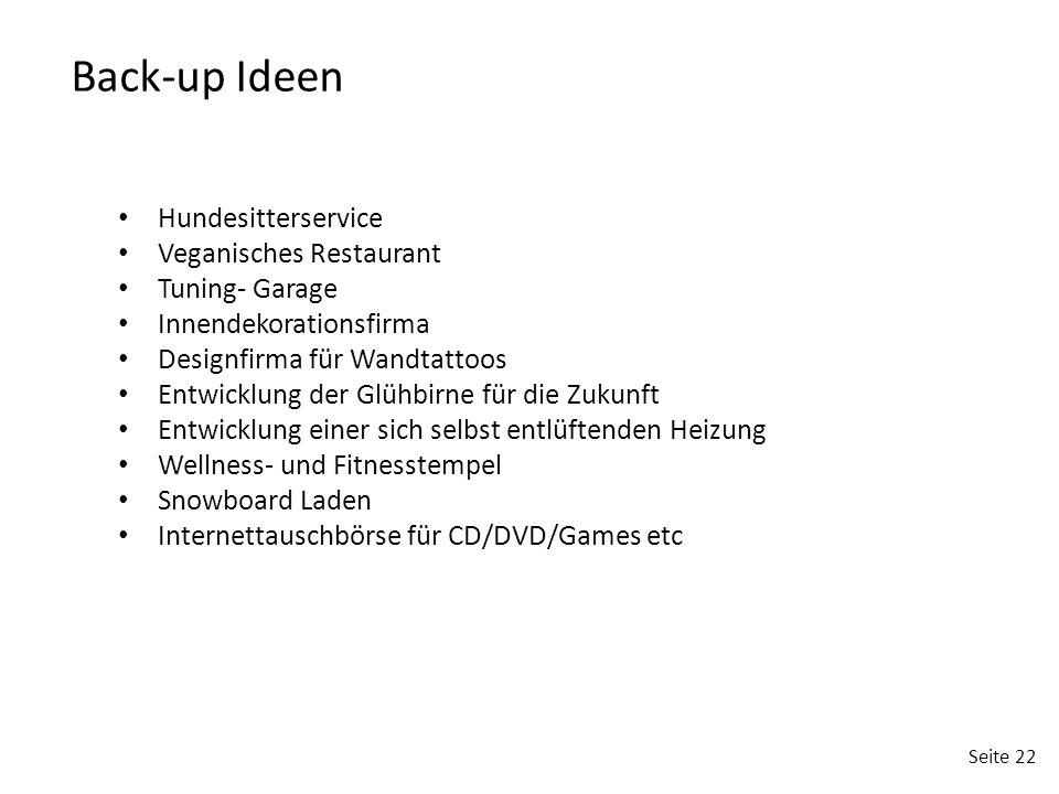 Back-up Ideen Hundesitterservice Veganisches Restaurant Tuning- Garage