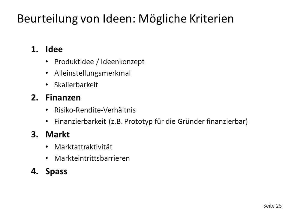 Beurteilung von Ideen: Mögliche Kriterien