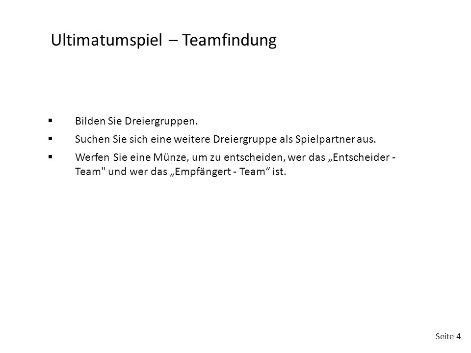 Ultimatumspiel – Teamfindung