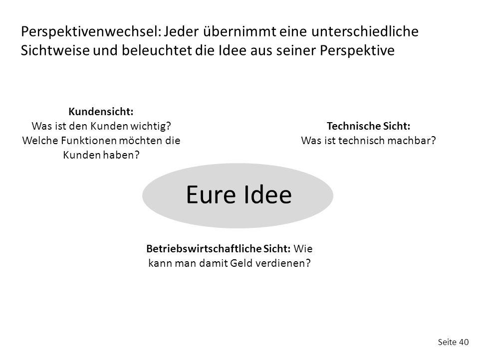 Perspektivenwechsel: Jeder übernimmt eine unterschiedliche Sichtweise und beleuchtet die Idee aus seiner Perspektive