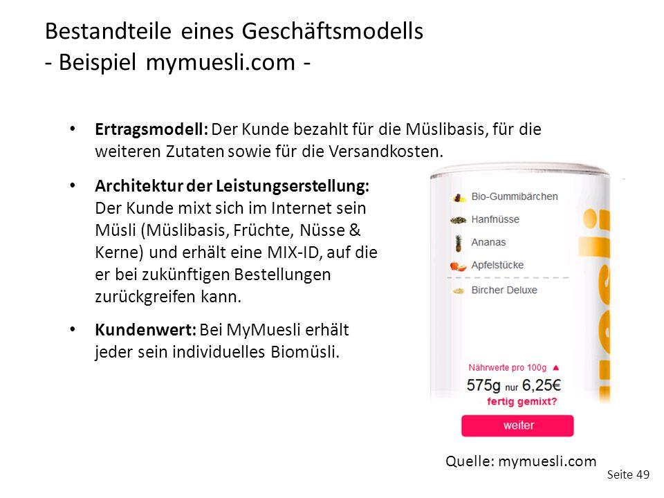 Bestandteile eines Geschäftsmodells - Beispiel mymuesli.com -