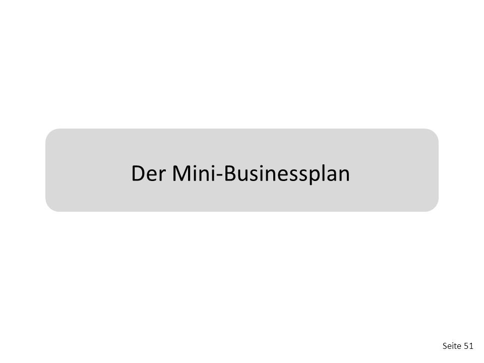 Der Mini-Businessplan
