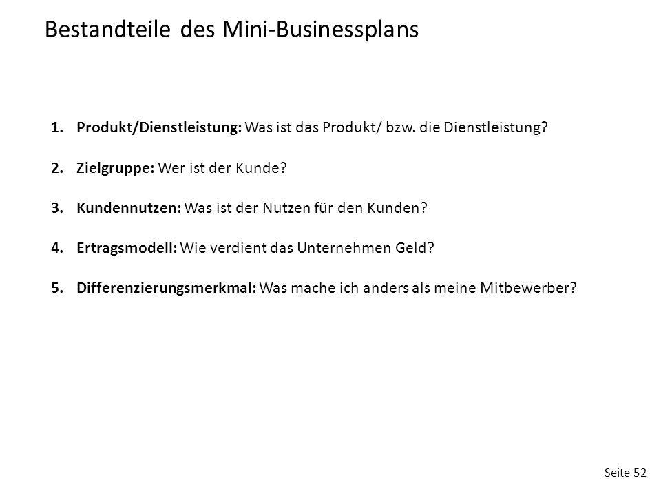 Bestandteile des Mini-Businessplans