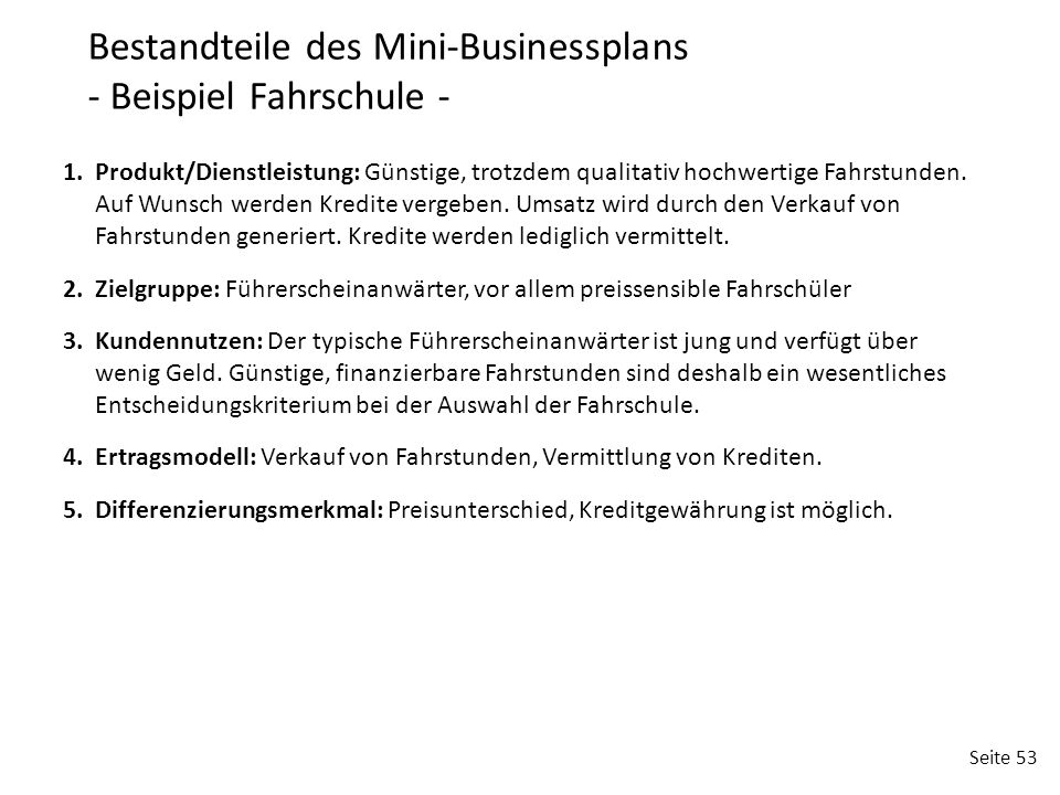 Bestandteile des Mini-Businessplans - Beispiel Fahrschule -