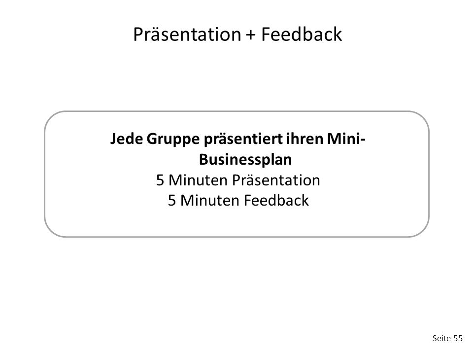 Präsentation + Feedback