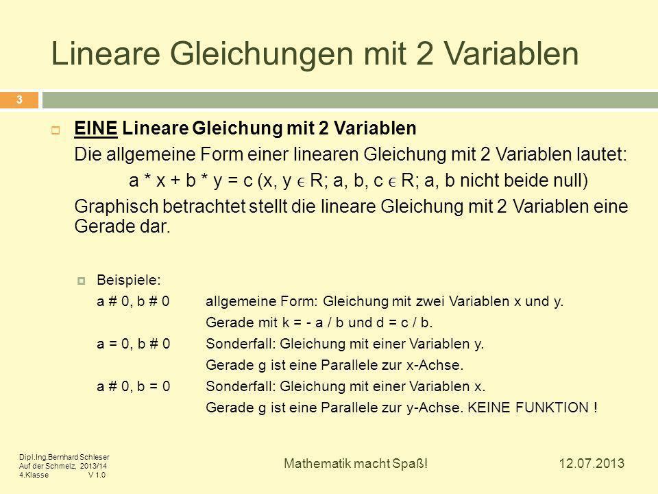Lineare Gleichungen mit 2 Variablen