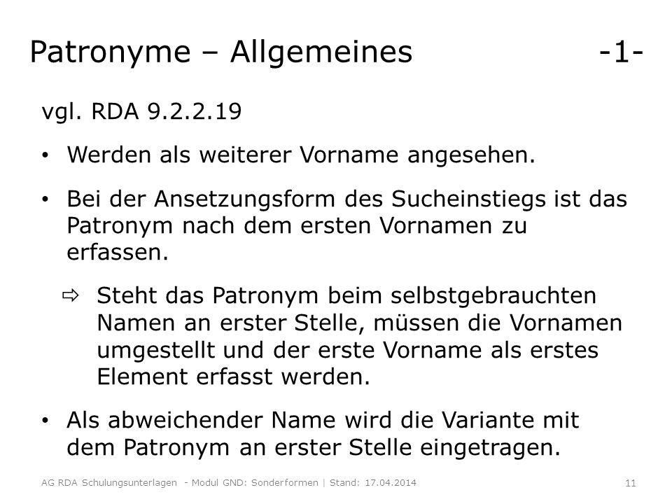 Patronyme – Allgemeines -1-