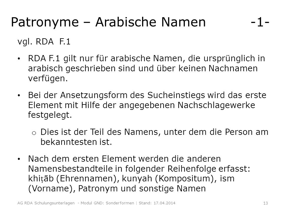 Patronyme – Arabische Namen -1-