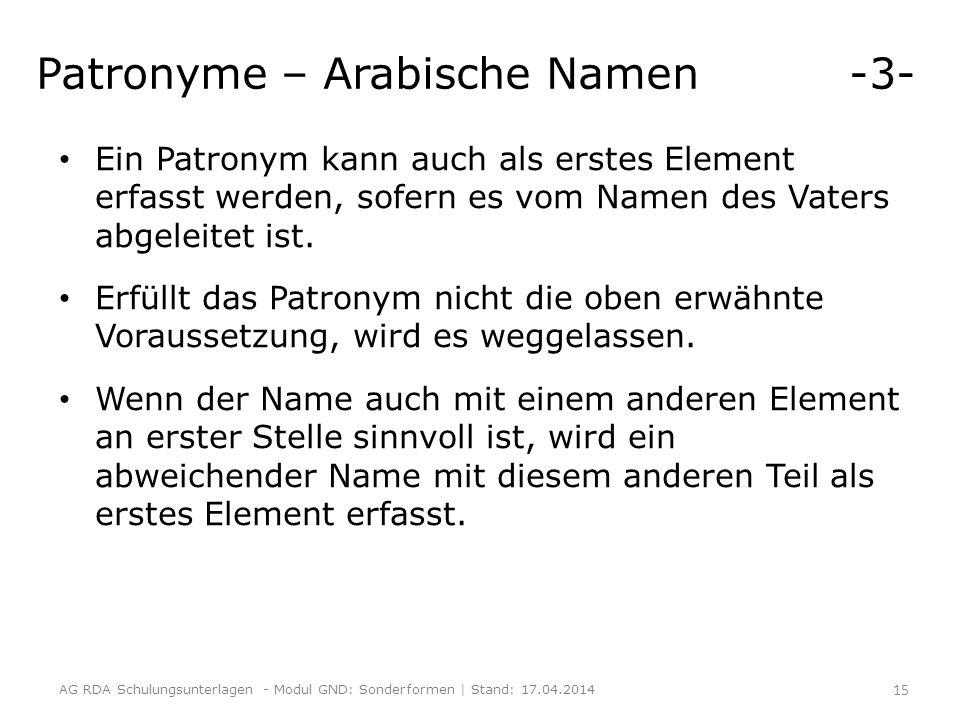 Patronyme – Arabische Namen -3-