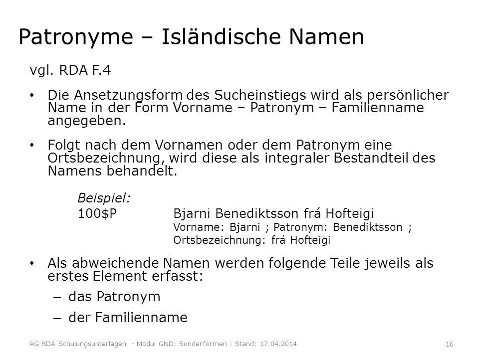 Patronyme – Isländische Namen