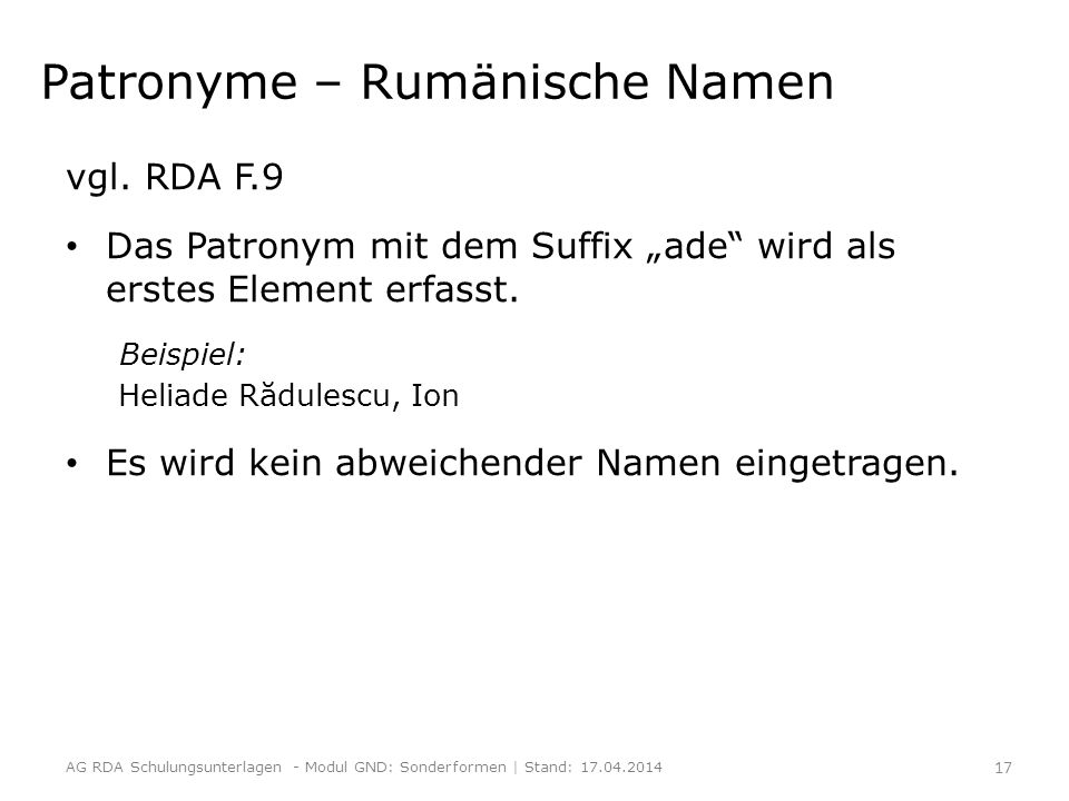 Patronyme – Rumänische Namen