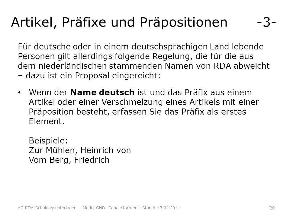 Artikel, Präfixe und Präpositionen -3-
