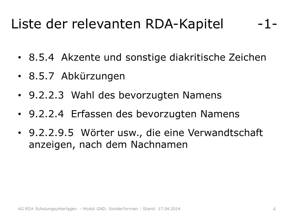 Liste der relevanten RDA-Kapitel -1-